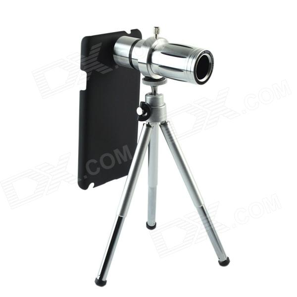 External 12X Zoom Cell Phone Telescope w/ Back Case for Samsung Galaxy Note 3 N9000 -  Silver 4x 12x zoom telescope 4x adjustable 12x telephoto tripod camera lens photo digital magnification for samsung mini plus s7 a j s6