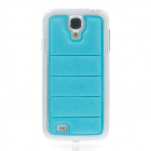 Protective PU Leather + Plastic Back Case for Samsung Galaxy S4 i9500 - Blue