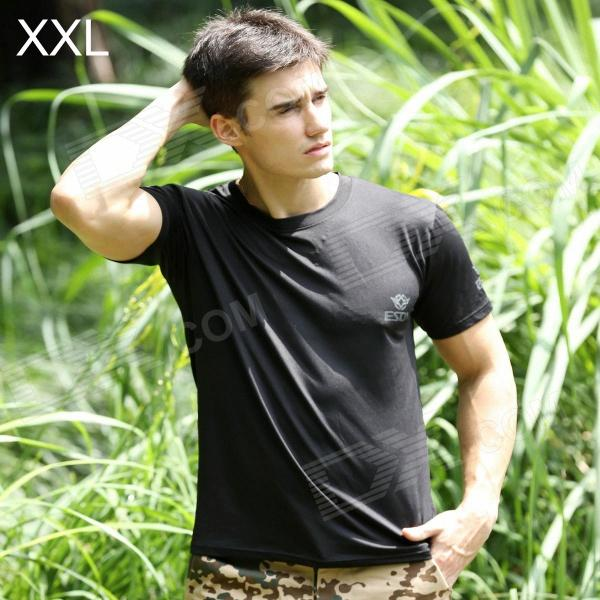 ESDY ESDY-8863 Outdoor Sports Cotton + Nylon Round Collar Tightness T-Shirt for Men - Black (XXL) esdy 611 men s outdoor sports climbing detachable quick drying polyester shirt camouflage xxl