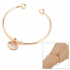 SHIYING c01103 Chinese Lucky Lock Style Crystal Bracelet for Women - Golden