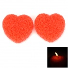 Romantic Hand-made Rose-formed Heart Shaped Plant Wax Candle - Red (2 PCS)