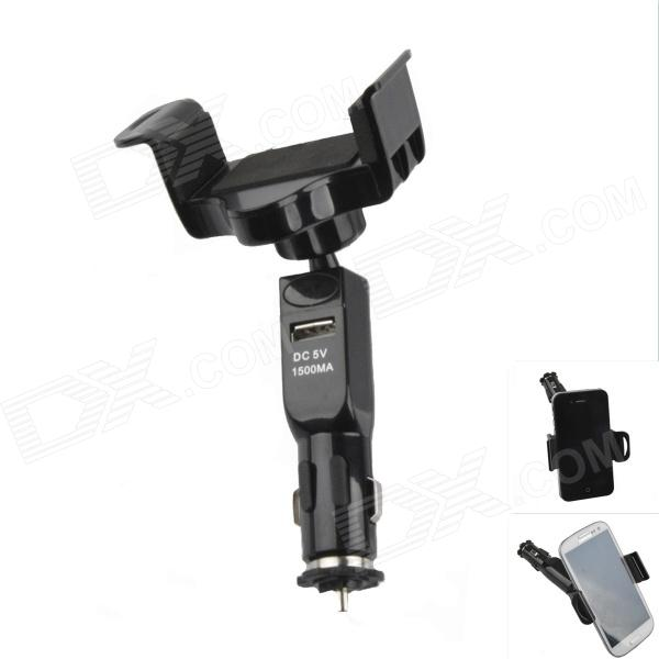Multifunctional Short Car Holder Bracket + Single USB Output Car Charger for Smartphone - Black