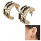 SHIYING d02148 Sexy Leopard Style Crystal Ear Stud Earrings - Black + Golden
