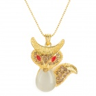 Graceful Fox Style Copper Opals Necklace - Golden + White + Red