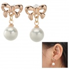 SHIYING d03361 Bowknot Style Pearl Earring - White + Golden