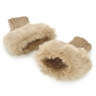 Women's Artificial Rabbit Hair + Woolen Oversleeve Half-Finger Gloves - Light Tan