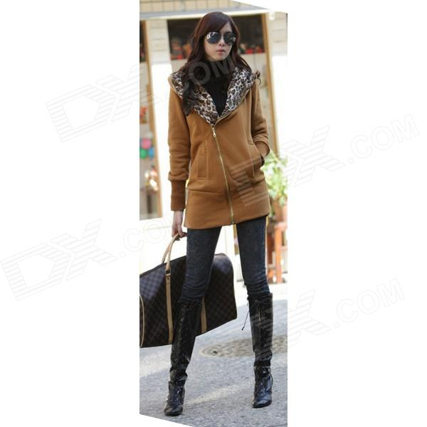 903 Women's Fashion Leopard Long Sleeve Zip Up Hoodies Coat Jacket - Yellow (L)