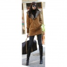 Women's Fashion Leopard Long Sleeve Zip Up Hoodie Coat Jacket - Yellow (L)