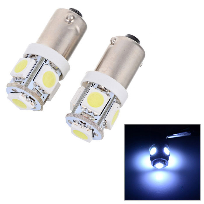 BAQS 0.75W 12V White Light 5-LED Car Turning Signal Light Bulb - Silver (2-Pack)
