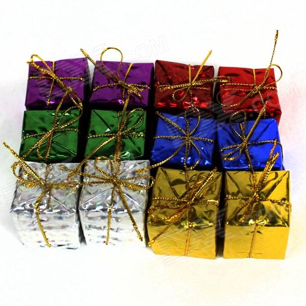 Decoration Gift Pendants for Christmas Tree - Yellow + Green + Purple + Blue + Red + Silver (12 PCS)