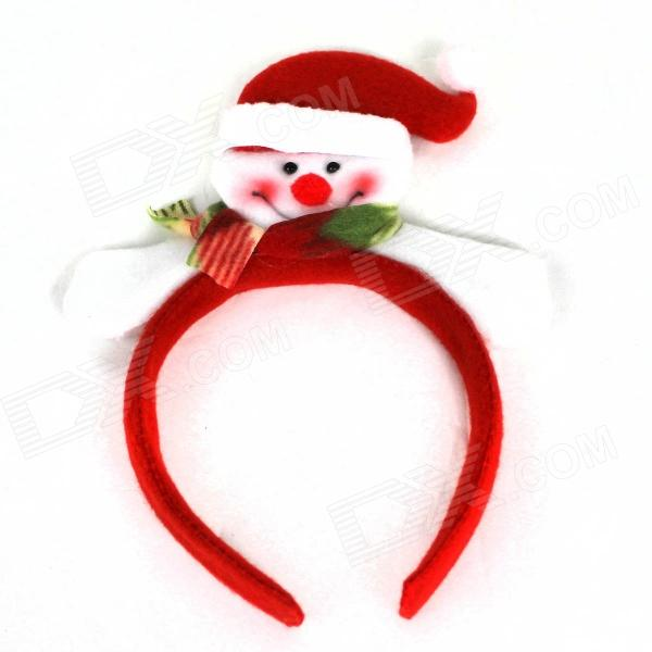 Christmas Smiling Snowman Headdress Scarf - Red