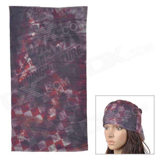 Acacia Outdoor Cycling Seamless Polyester Head Scarf for Men - Black + Red