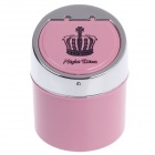 982BC Crown Pattern Zinc Alloy Spring Lid Ashtray - Pink + Silver + Black