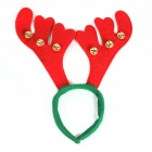 Simple Large Antlers Small Bell Headdress for Christmas - Red + Green + Golden