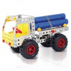 Iron Commander SM146703 DIY Metal Cutting Assembled Fir Toy Car - Silver + Yellow + Red + Blue
