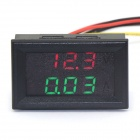 "Jtron 0.28"" LED 4-Digit Dual-Display DC Ammeter Voltmeter - (Red Volt / Green Amp / 0~100V / 10A)"