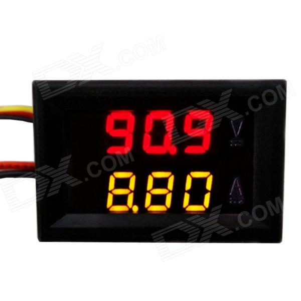 Jtron 0.28 LED 4-Digit Dual-Display DC Ammeter Voltmeter - (Red Volt / Yellow Amp / 0~100V / 10A)