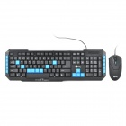 Jeway JK-8803 USB Wired 114-Key Gaming Keyboard + Wired USB Optical Mouse Set - Black + Blue