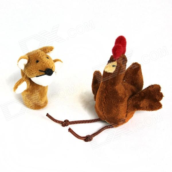 Finger Sleeve Chicken + Fox Plush Doll - Brown + Red + White + Black