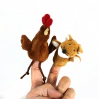 Finger manga pollo + Fox Plush Doll - Brown + Rojo + Blanco + Negro