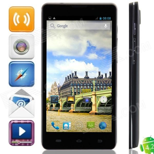 D9000(D5) MTK6572 Dual-Core Android 4.2.2 WCDMA Bar Phone w/ 5.0″, Wi-Fi, FM and GPS – Black