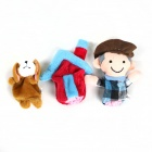 Finger Sleeve Dog + Farmer + House Plush Doll - Grey + White + Pink + Green