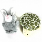 Finger Sleeve Tortoise + Rabbit Plush Doll - Grey + White + Pink + Green