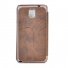 Stylish Protective PU Leather Case w/ Display Window for Samsung Galaxy Note 3 - Brown