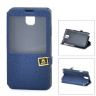 Protective PU Leather + ABS Case w/ Display Window for Samsung N9006 - Dark Blue