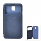 Protective PU Leather Case w/ Display Window for Samsung Galaxy Note 3 - Dark Blue