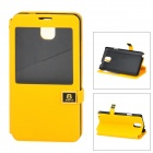 Protective PU Leather + ABS Case w/ Display Window for Samsung N9006 - Yellow + Black