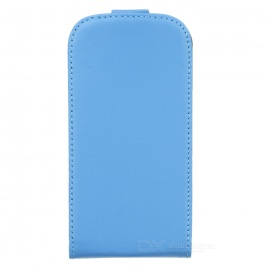 Protective Genuine Leather Flip-Open Case for Samsung Galaxy S3 Mini i8190 - Blue