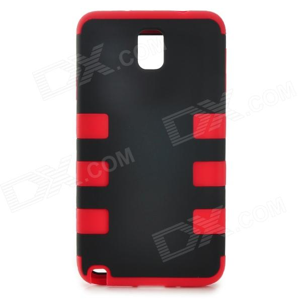 3-in-1 Protective Silicone + PC Back Case for Samsung Galaxy Note 3 - Black + Red 2 in 1 detachable protective tpu pc back case cover for samsung galaxy note 4 black