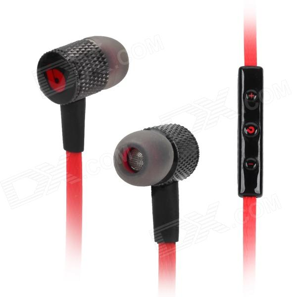 BIDENUO G800 Universal 3.5mm Jack Wired In-ear Headset w/ Microphone for Cellphone - Black + Red