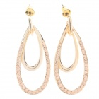 Fashionable Double Water Drop Style Rhinestone Decoration Earrings for Women - Golden (Pair)