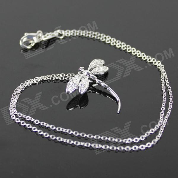925 Silver Dragonfly Style Pendant Chain Necklace - Silver