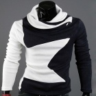 High-Necked Long-Sleeved Men's Knit Sweater - White + Navy (Size-L)