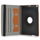 Protective 360 Degree Rotation Fiber Leather + Plastic Case w/ Auto Sleep for Ipad AIR - Brown