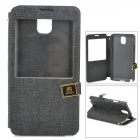 Protective PU + ABS Flip Open Case w/ Stand / Display Window for Samsung N9006 - Black