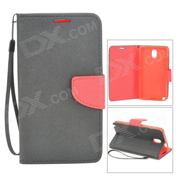 Protective Flip Open Case w/ Strap / Stand / Card Slots for Samsung N9005 - Black + Red enkay protective flip open case w stand card slots for samsung galaxy note 4 n9100 black