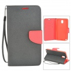 Protective Flip Open Case w/ Strap / Stand / Card Slots for Samsung N9005 - Black + Red