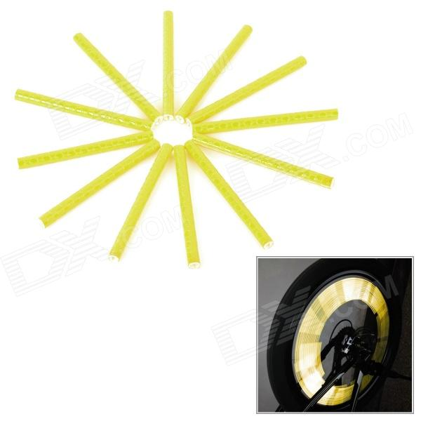 Bike Bicycle Reflective Spoke Clip Stripes - Yellow (12PCS)