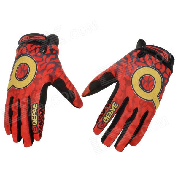 QEPAE F7506 Motorcycle / Bicycle Full-Finger Gloves for Men - Red + Black + Yellow (L / Pair ) anti static elastic finger cots stalls yellow size l 50 pcs