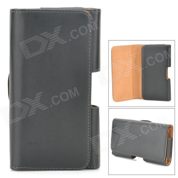 Protective PU Leather Case w/ Blet Clip for HTC One M7 - Black 3200mah backup battery case w holder for htc one m7 801e black