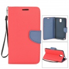 Protective PU Leather Flip Open Case w/ Strap / Stand / Card Slots for Samsung N9005 - Red + Blue
