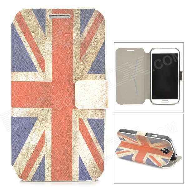 Retro UK National Flag Pattern Protective Flip Open Case w/ Stand for Samsung S4 9500 - Blue + Red protective american flag pattern pu leather flip open case for iphone 4 4s beige red blue
