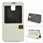 Protective Smart View Flip Open PU Leather Case for Samsung N9006 - White + Black