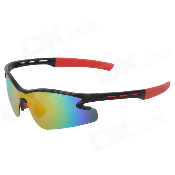 CARSHIRO 9184 Outdoor Cycling UV400 Protection Sunglasses w/ Replacement Lenses - Black + Red cashiro 9184 outdoor cycling sport windproof polarized sunglasses goggle black red revo