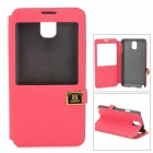 Protective PU + ABS Flip Open Case w/ Stand / Display Window for Samsung N9006 - Deep Pink + Black