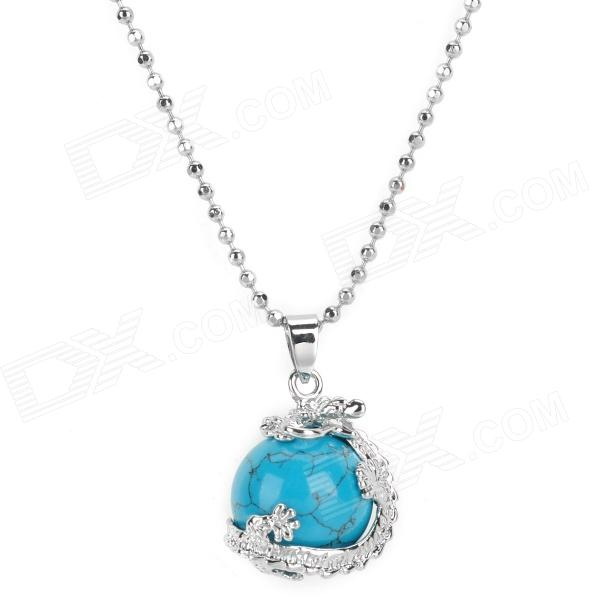 Rotation Natural Turquoise Pendant Necklace for Women - Blue + Silver